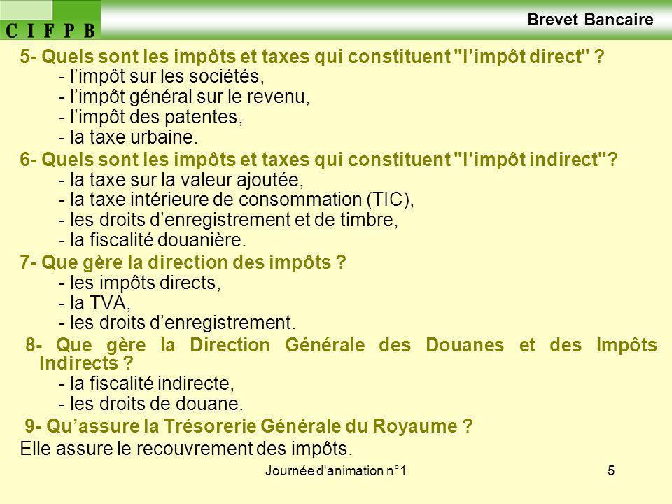 Journée d animation n°16 Brevet Bancaire Le système fiscal marocain Limpôt général sur le revenu Rappel théorique des thèmes de la journée