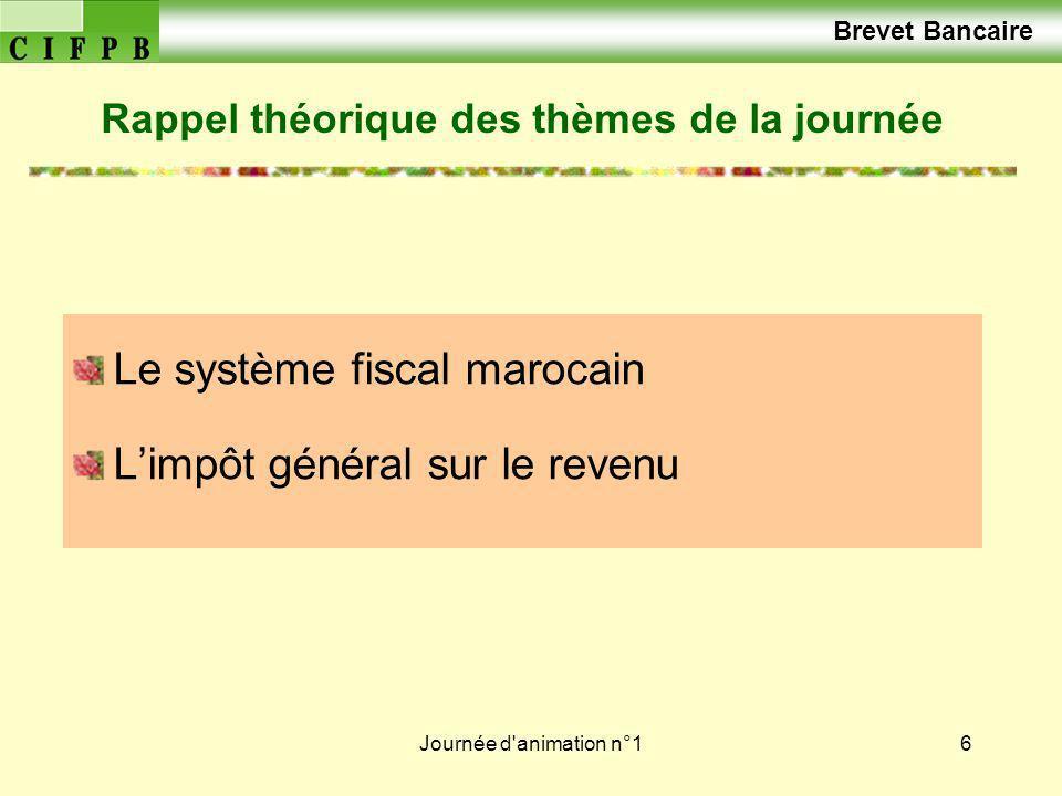 Journée d'animation n°16 Brevet Bancaire Le système fiscal marocain Limpôt général sur le revenu Rappel théorique des thèmes de la journée
