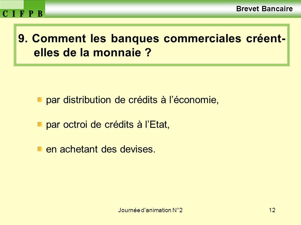 Journée d'animation N°212 9. Comment les banques commerciales créent- elles de la monnaie ? par distribution de crédits à léconomie, par octroi de cré