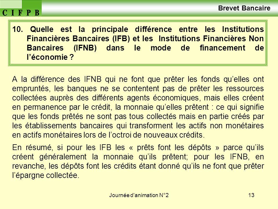 Journée d'animation N°213 10. Quelle est la principale différence entre les Institutions Financières Bancaires (IFB) et les Institutions Financières N