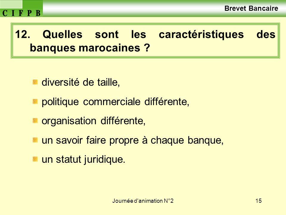 Journée d'animation N°215 12. Quelles sont les caractéristiques des banques marocaines ? diversité de taille, politique commerciale différente, organi