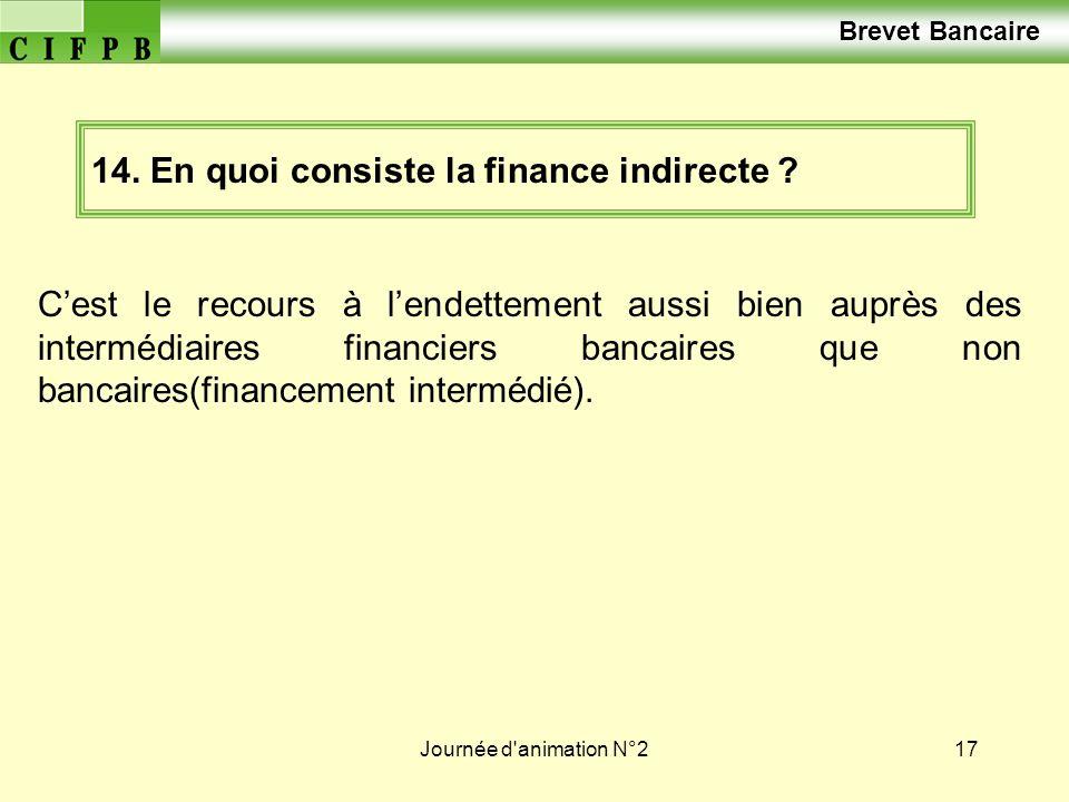 Journée d'animation N°217 14. En quoi consiste la finance indirecte ? Cest le recours à lendettement aussi bien auprès des intermédiaires financiers b