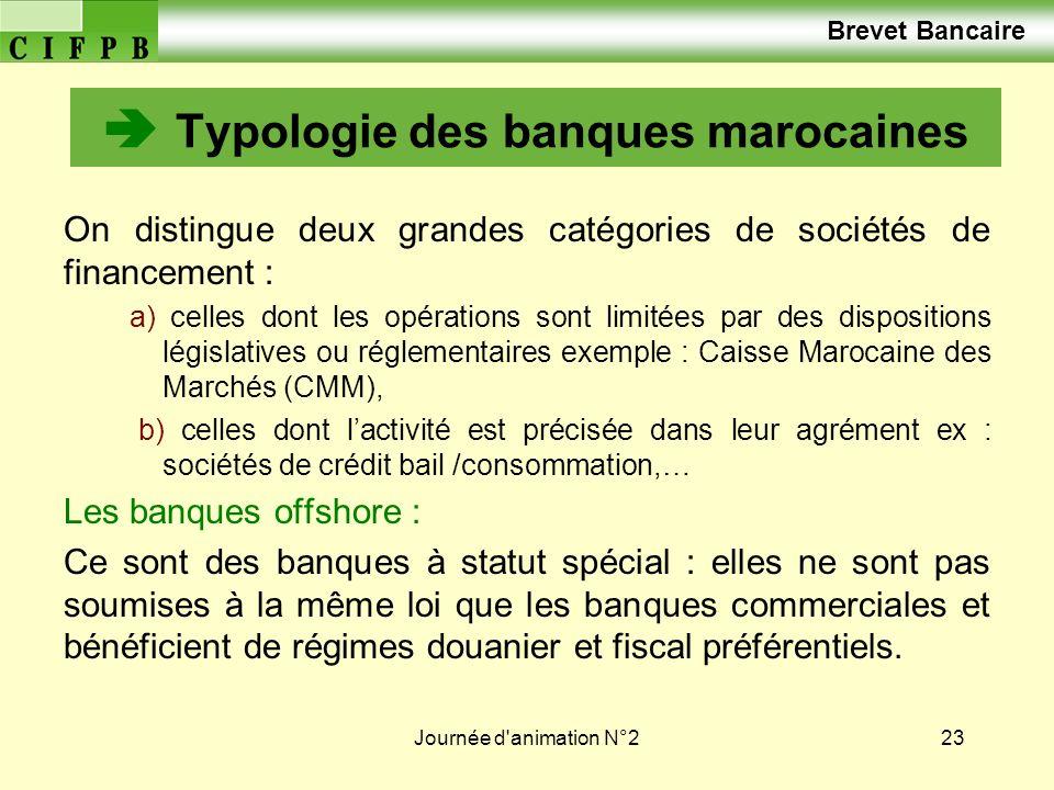 Journée d'animation N°223 Typologie des banques marocaines On distingue deux grandes catégories de sociétés de financement : a) celles dont les opérat