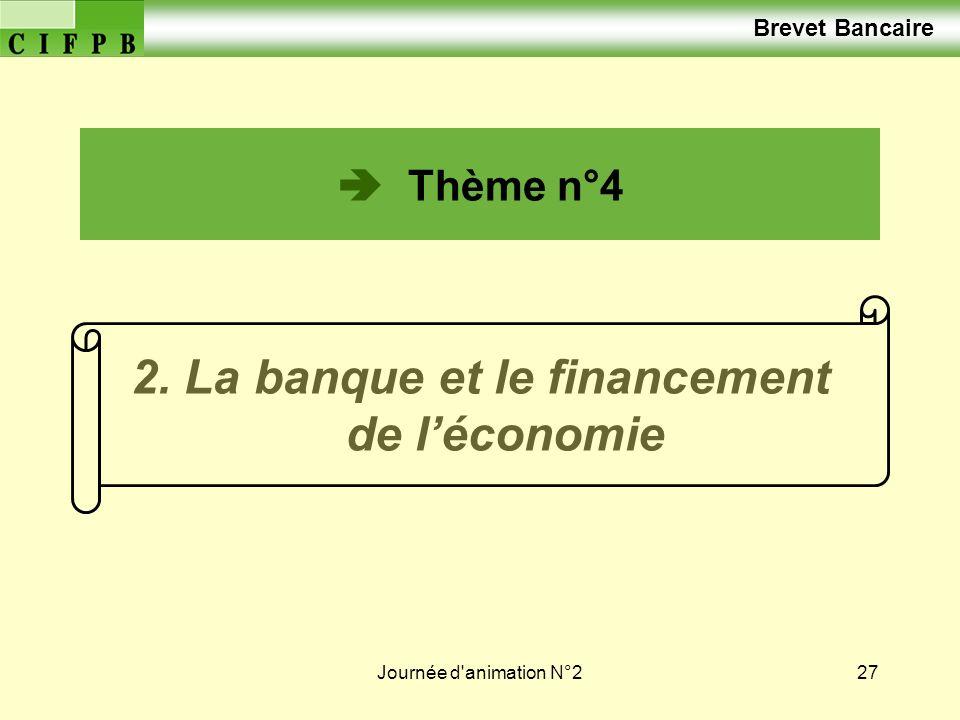 Journée d animation N°227 2. La banque et le financement de léconomie Brevet Bancaire Thème n°4