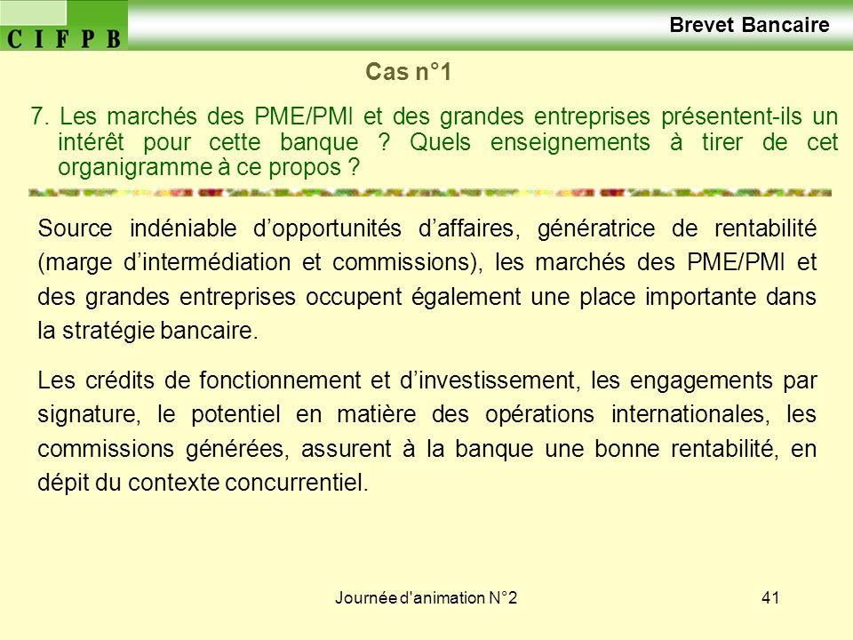 Journée d'animation N°241 Cas n°1 7. Les marchés des PME/PMI et des grandes entreprises présentent-ils un intérêt pour cette banque ? Quels enseigneme