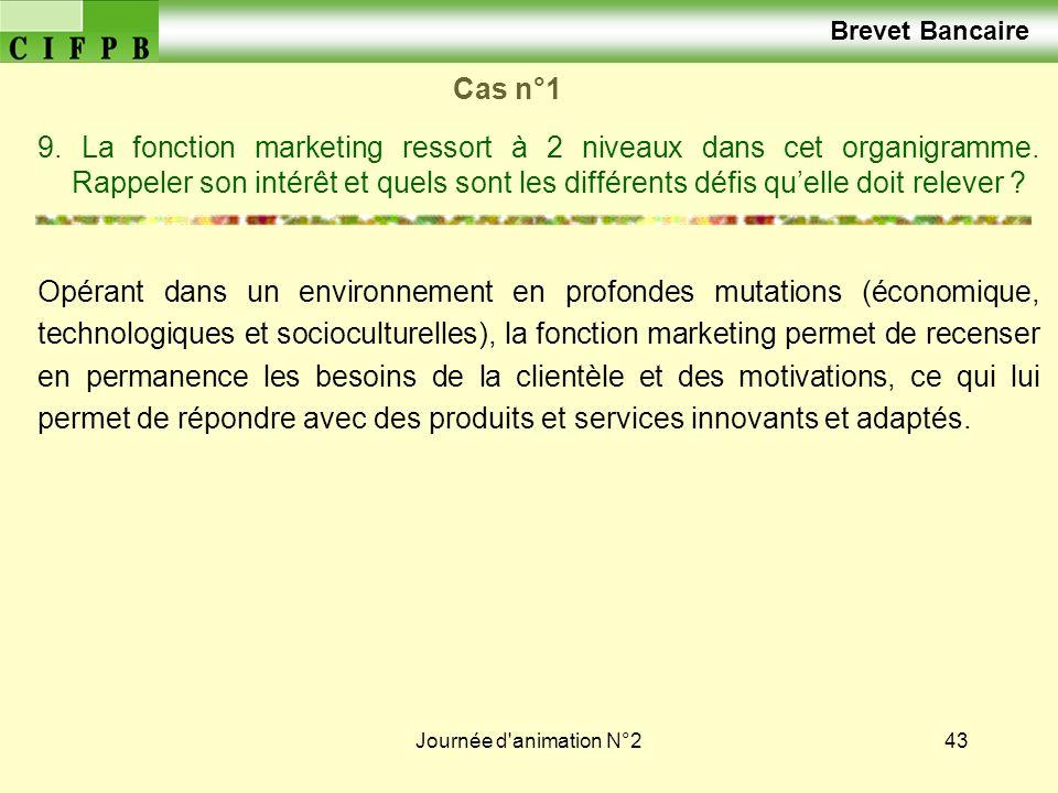 Journée d'animation N°243 Cas n°1 9. La fonction marketing ressort à 2 niveaux dans cet organigramme. Rappeler son intérêt et quels sont les différent