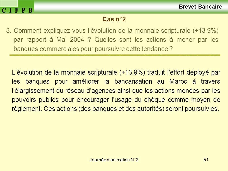 Journée d'animation N°251 Brevet Bancaire Cas n°2 3. Comment expliquez-vous lévolution de la monnaie scripturale (+13,9%) par rapport à Mai 2004 ? Que