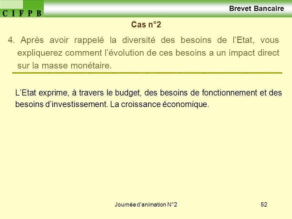 Journée d'animation N°252 Brevet Bancaire Cas n°2 4. Après avoir rappelé la diversité des besoins de lEtat, vous expliquerez comment lévolution de ces