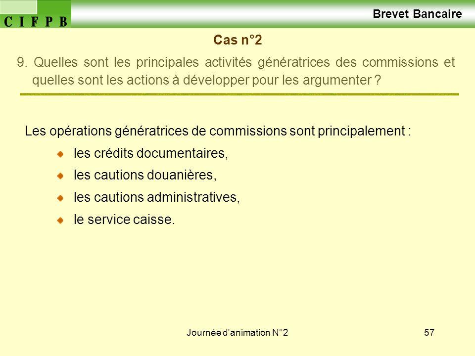 Journée d'animation N°257 Brevet Bancaire Cas n°2 9. Quelles sont les principales activités génératrices des commissions et quelles sont les actions à