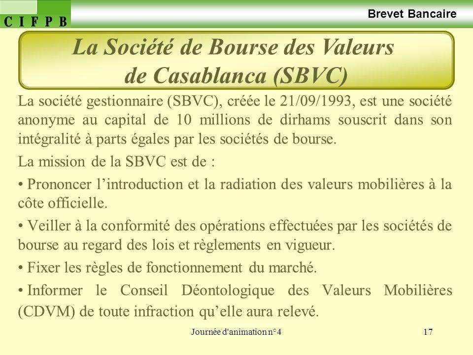 Journée d'animation n°417 Brevet Bancaire La société gestionnaire (SBVC), créée le 21/09/1993, est une société anonyme au capital de 10 millions de di