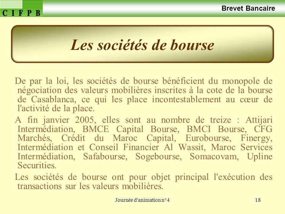 Journée d'animation n°418 Brevet Bancaire De par la loi, les sociétés de bourse bénéficient du monopole de négociation des valeurs mobilières inscrite