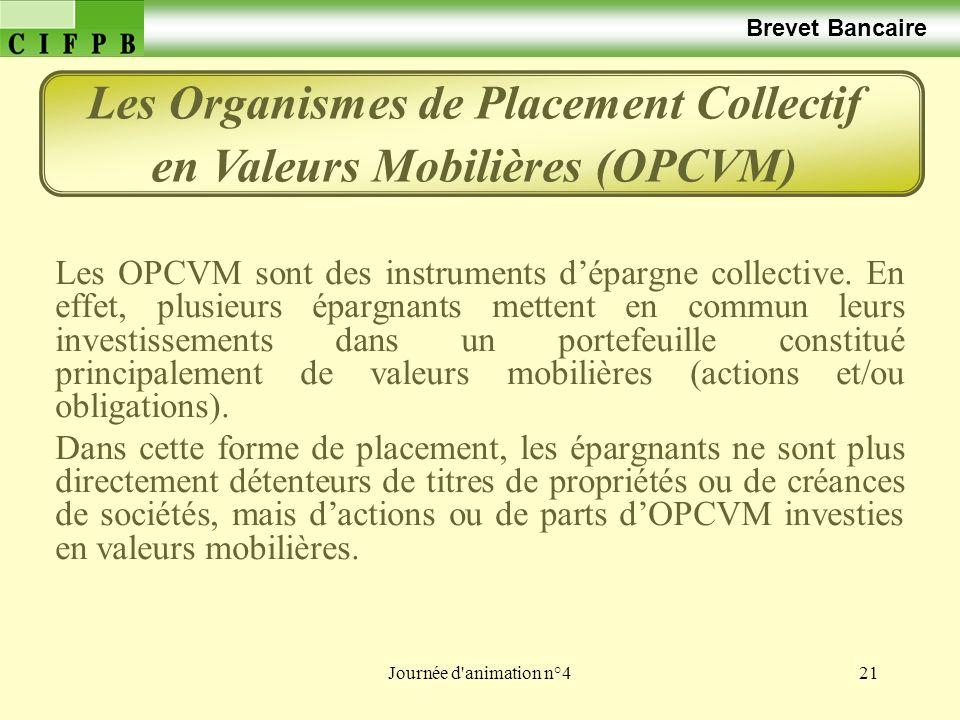 Journée d'animation n°421 Brevet Bancaire Les OPCVM sont des instruments dépargne collective. En effet, plusieurs épargnants mettent en commun leurs i