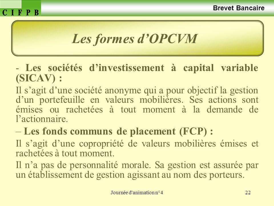 Journée d'animation n°422 Brevet Bancaire - Les sociétés dinvestissement à capital variable (SICAV) : Il sagit dune société anonyme qui a pour objecti