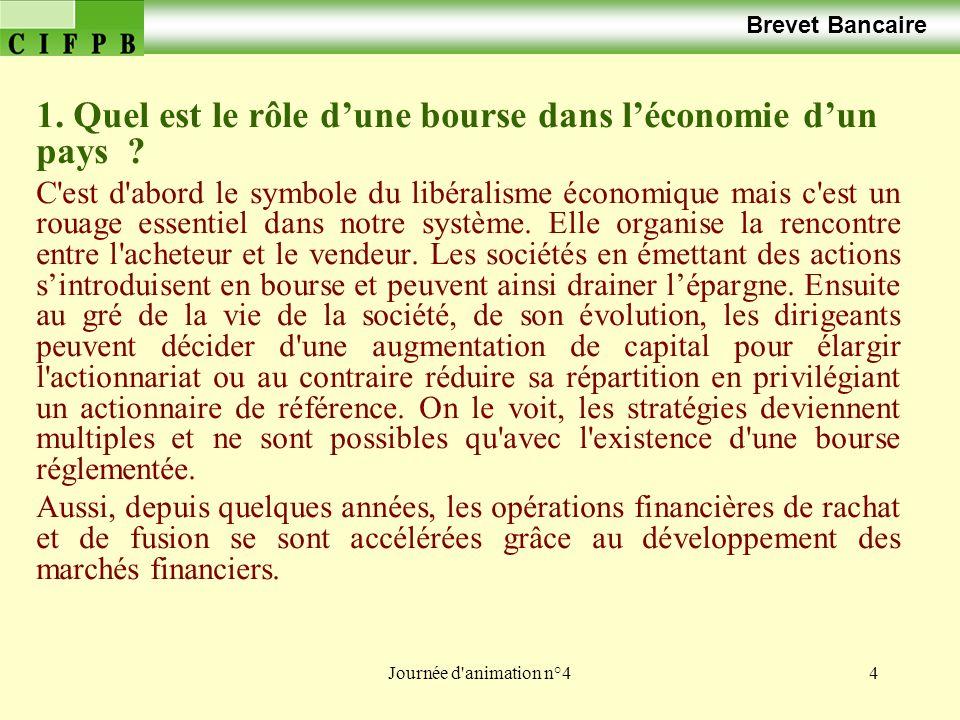Journée d'animation n°44 Brevet Bancaire 1. Quel est le rôle dune bourse dans léconomie dun pays ? C'est d'abord le symbole du libéralisme économique