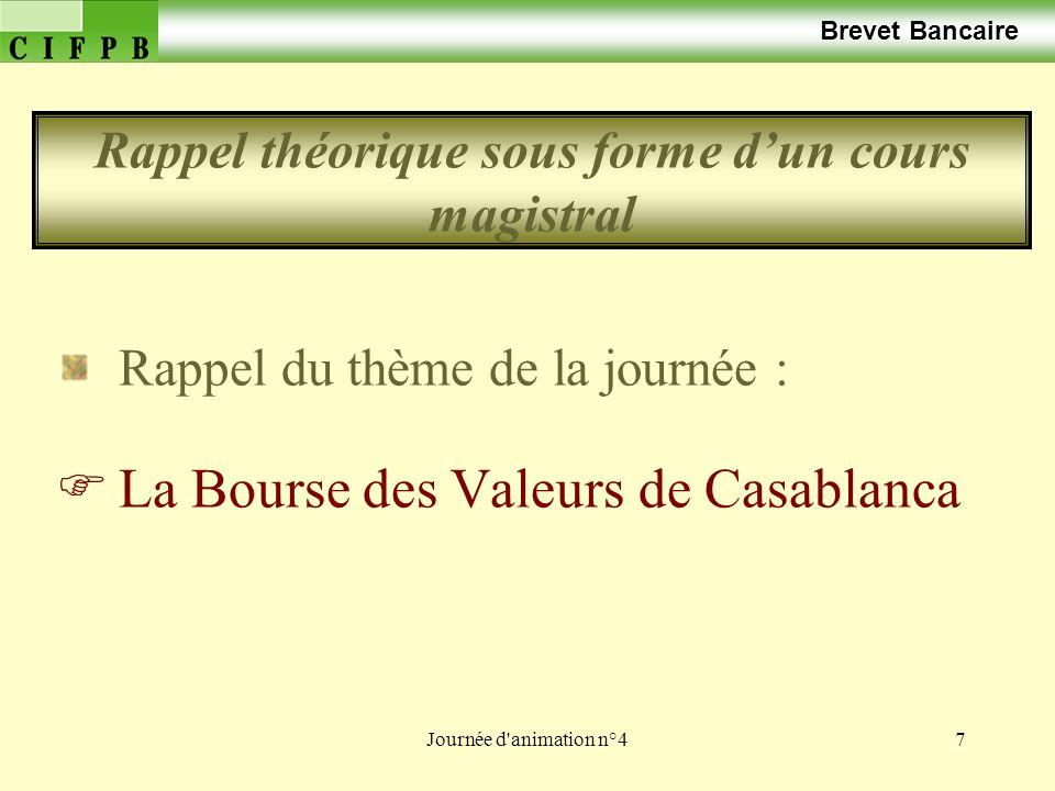 Journée d'animation n°47 Brevet Bancaire Rappel du thème de la journée : La Bourse des Valeurs de Casablanca Rappel théorique sous forme dun cours mag