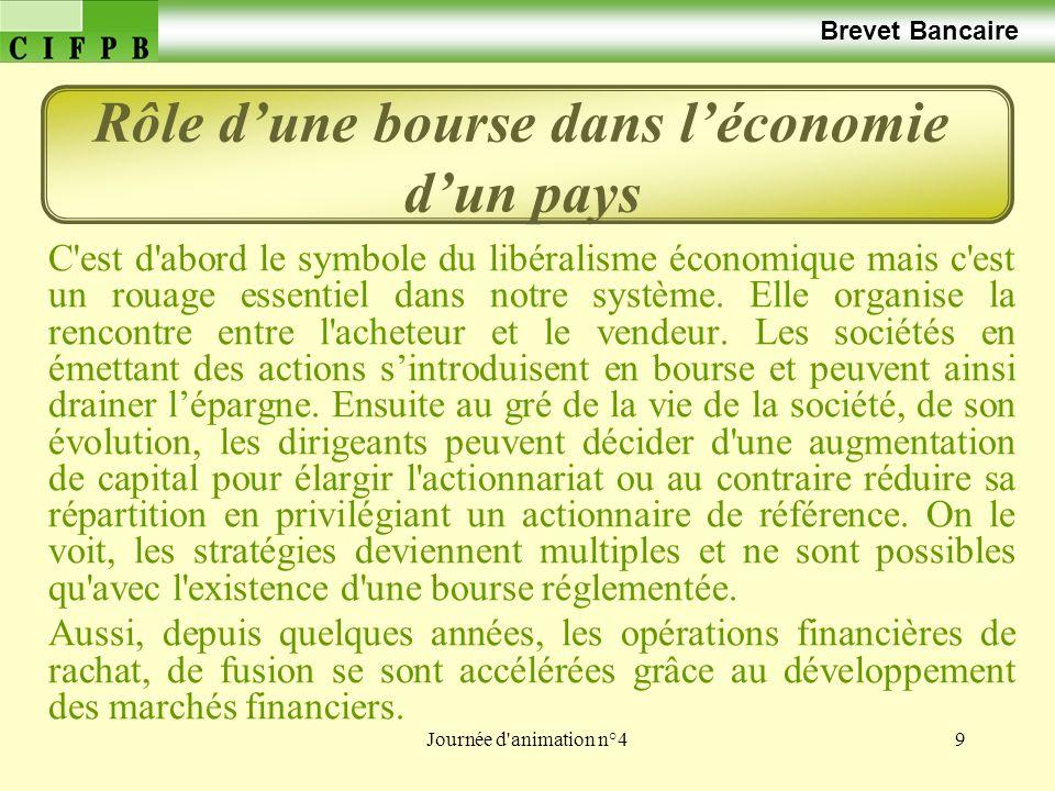 Journée d'animation n°49 Brevet Bancaire Rôle dune bourse dans léconomie dun pays C'est d'abord le symbole du libéralisme économique mais c'est un rou