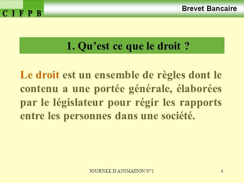 JOURNEE D ANIMATION N°125 Brevet Bancaire 2. LES PERSONNES DE DROIT