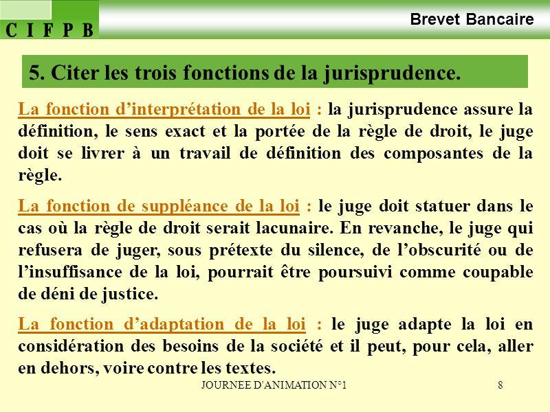 JOURNEE D ANIMATION N°129 Brevet Bancaire 3. LAPPLICATION DE LA LOI