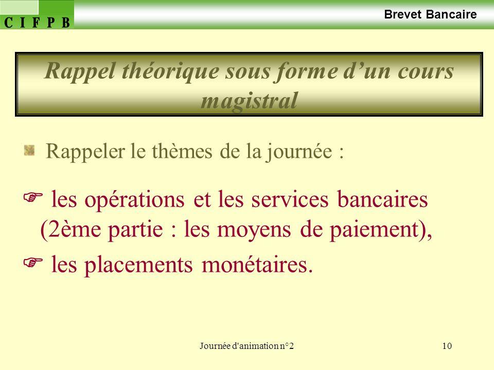 Journée d'animation n°210 Brevet Bancaire Rappeler le thèmes de la journée : les opérations et les services bancaires (2ème partie : les moyens de pai