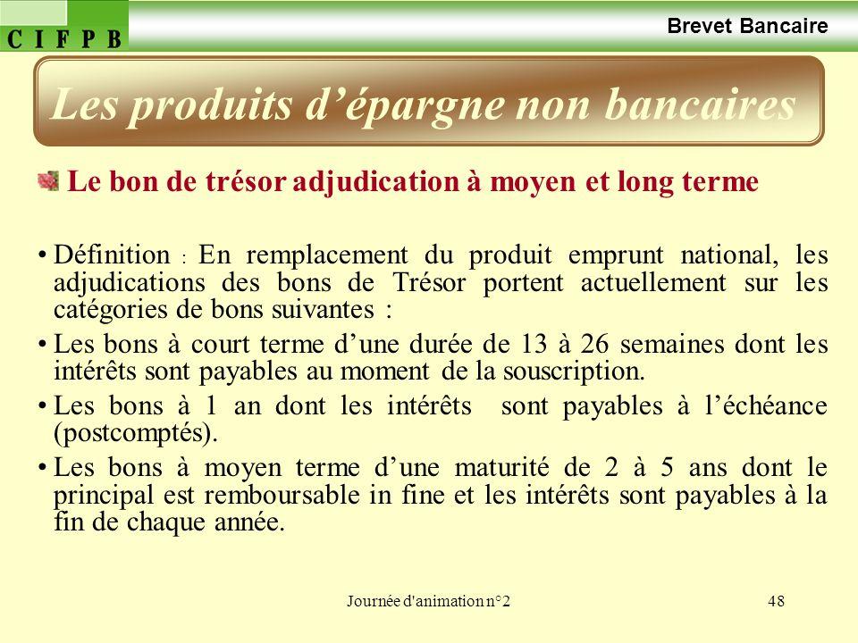 Journée d'animation n°248 Brevet Bancaire Le bon de trésor adjudication à moyen et long terme Définition : En remplacement du produit emprunt national
