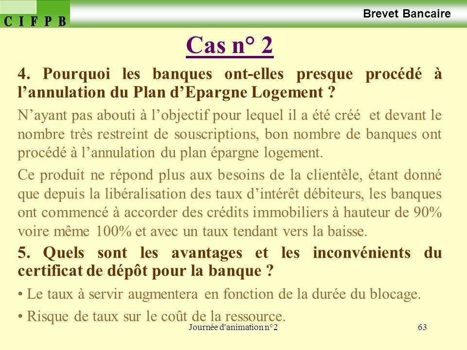Journée d'animation n°263 Cas n° 2 Brevet Bancaire 4. Pourquoi les banques ont-elles presque procédé à lannulation du Plan dEpargne Logement ? Nayant
