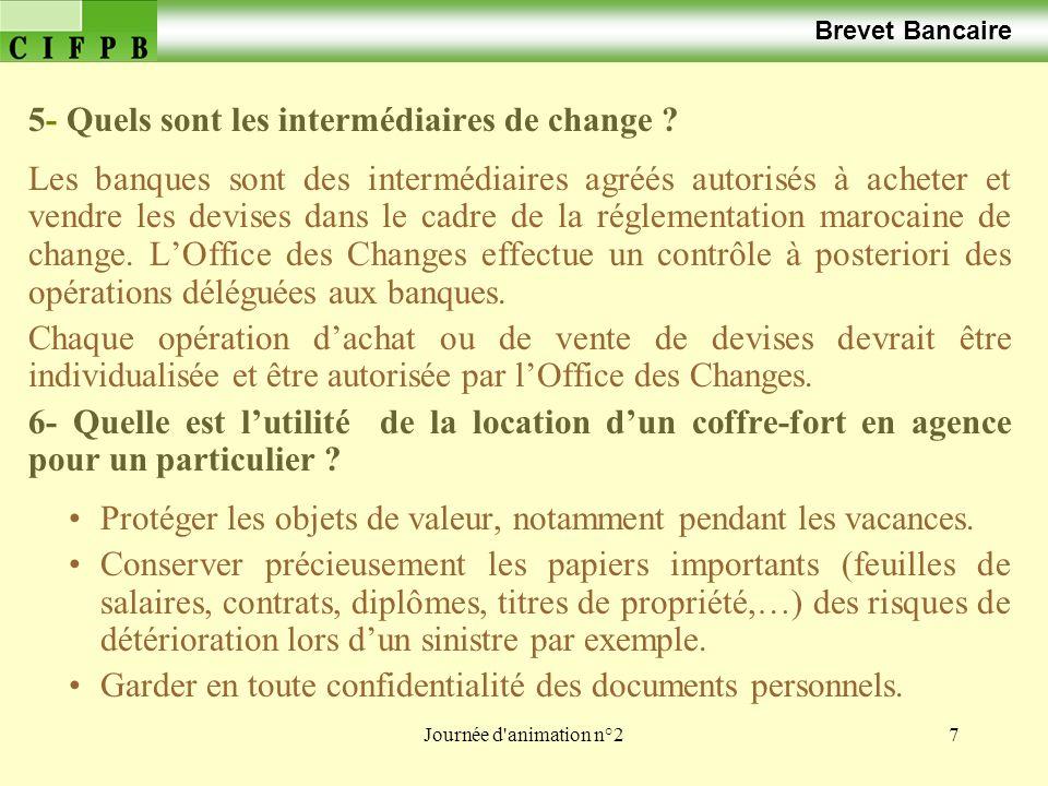 Journée d animation n°228 Brevet Bancaire Le change manuel La réglementation des changes est un ensemble de mesures qui a pour but de contrôler les transferts à destination de létranger en veillant au rapatriement des devises, afin de maintenir et développer les réserves en devises au Maroc.