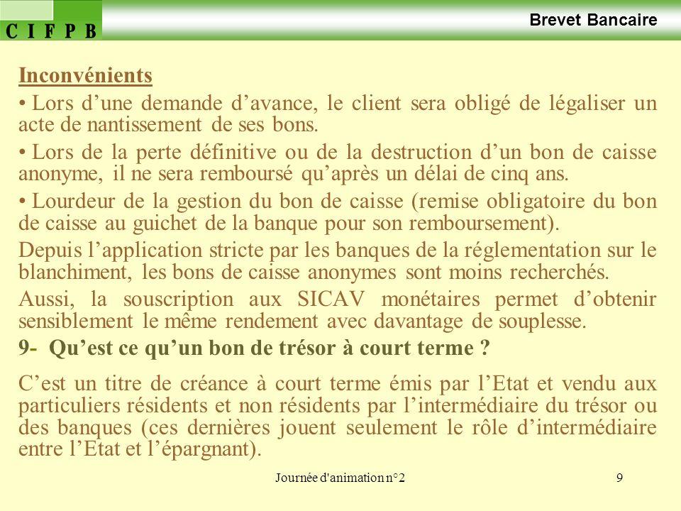 Journée d'animation n°29 Brevet Bancaire Inconvénients Lors dune demande davance, le client sera obligé de légaliser un acte de nantissement de ses bo