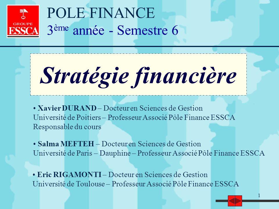1 Stratégie financière Eric RIGAMONTI – Docteur en Sciences de Gestion Université de Toulouse – Professeur Associé Pôle Finance ESSCA Salma MEFTEH – D