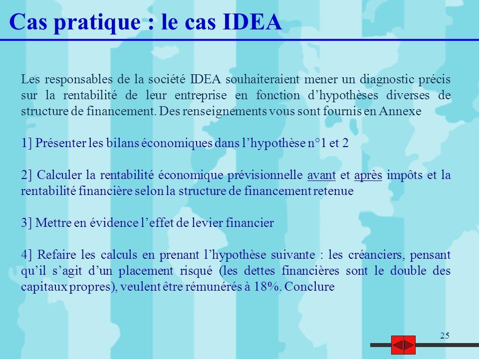 25 Cas pratique : le cas IDEA Les responsables de la société IDEA souhaiteraient mener un diagnostic précis sur la rentabilité de leur entreprise en f