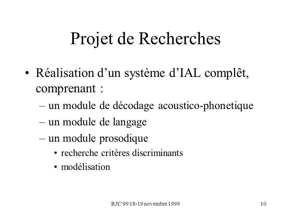 RJC'99 18-19 novembre 199910 Projet de Recherches Réalisation dun système dIAL complêt, comprenant : –un module de décodage acoustico-phonetique –un m