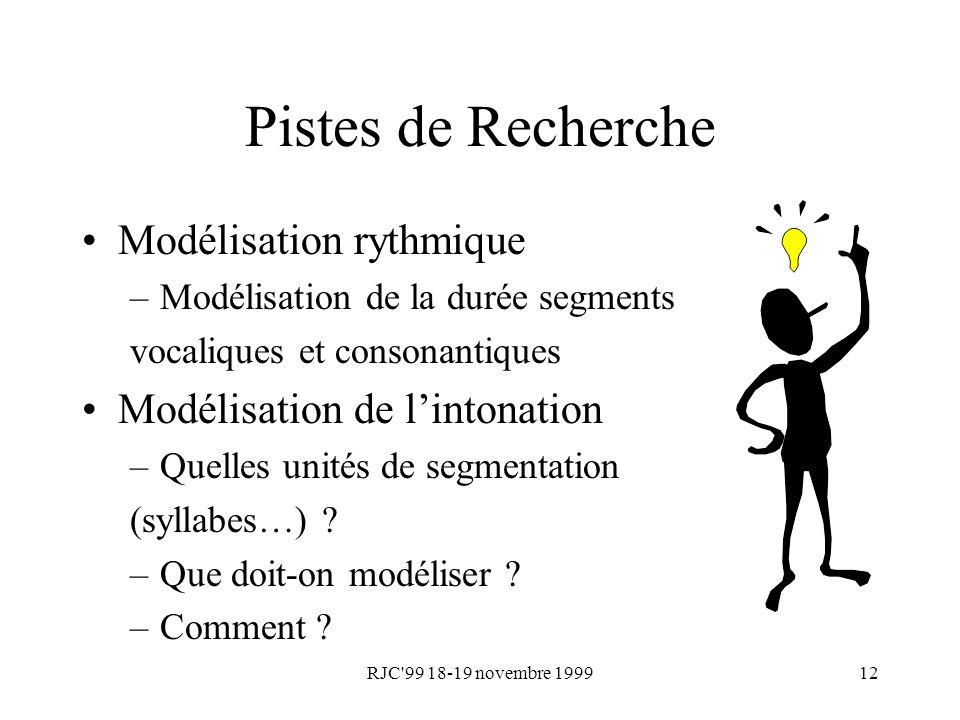 RJC'99 18-19 novembre 199912 Pistes de Recherche Modélisation rythmique –Modélisation de la durée segments vocaliques et consonantiques Modélisation d
