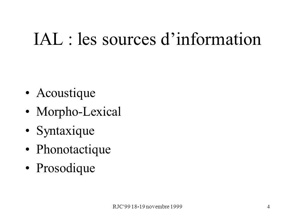 RJC 99 18-19 novembre 19995 IAL : lapproche actuelle Informations phonétiques Sons spécifiques Fréquences doccurrence Informations phonotactiques Enchaînements des unités phonétiques Modèles phonétiques Modèles de Markov Cachés Modèles phonotactiques Modèles de grammaire statistique