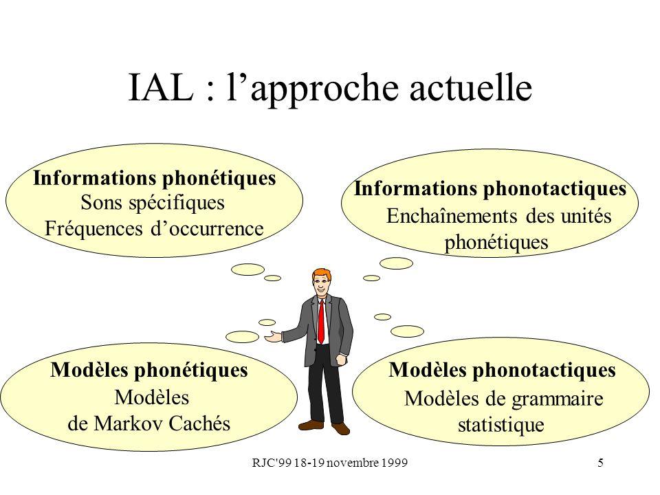 RJC'99 18-19 novembre 19995 IAL : lapproche actuelle Informations phonétiques Sons spécifiques Fréquences doccurrence Informations phonotactiques Ench