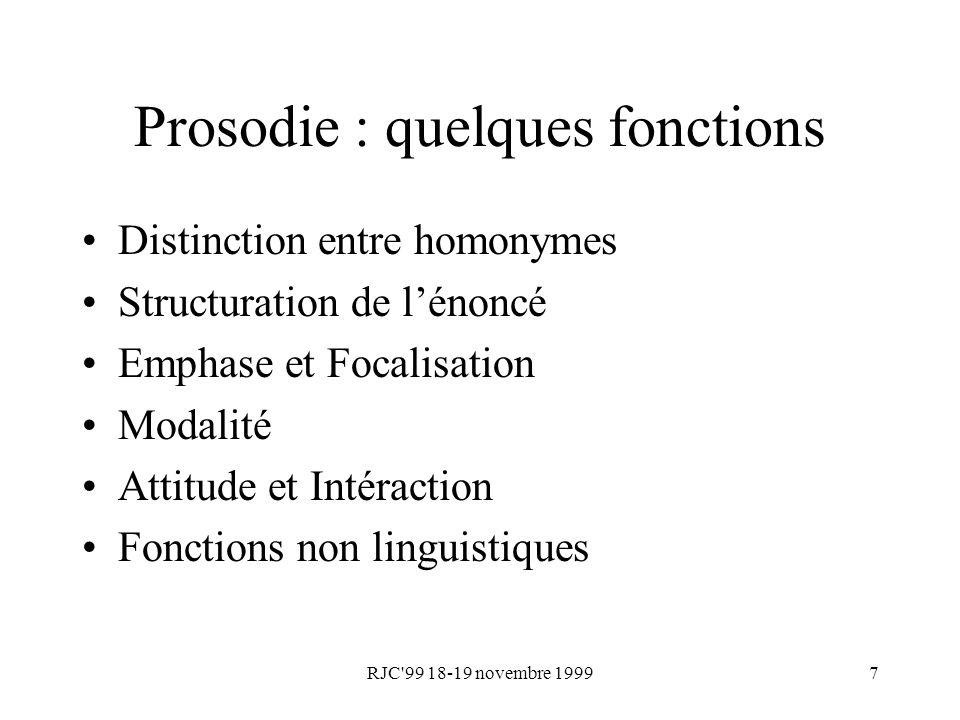 RJC 99 18-19 novembre 19998 Prosodie : paramétrisation Energie Durée Fréquence fondamentale F0 –fréquence de vibration des cordes vocales –méthodes dextraction temporelles, fréquentielles, combinaison de méthodes