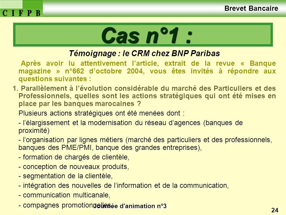 Journée d'animation n°3 24 Témoignage : le CRM chez BNP Paribas Après avoir lu attentivement larticle, extrait de la revue « Banque magazine » n°662 d