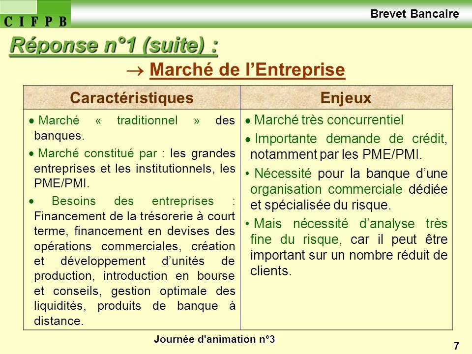 Journée d'animation n°3 7 Marché de lEntreprise Réponse n°1 (suite) : CaractéristiquesEnjeux Marché « traditionnel » des banques. Marché constitué par