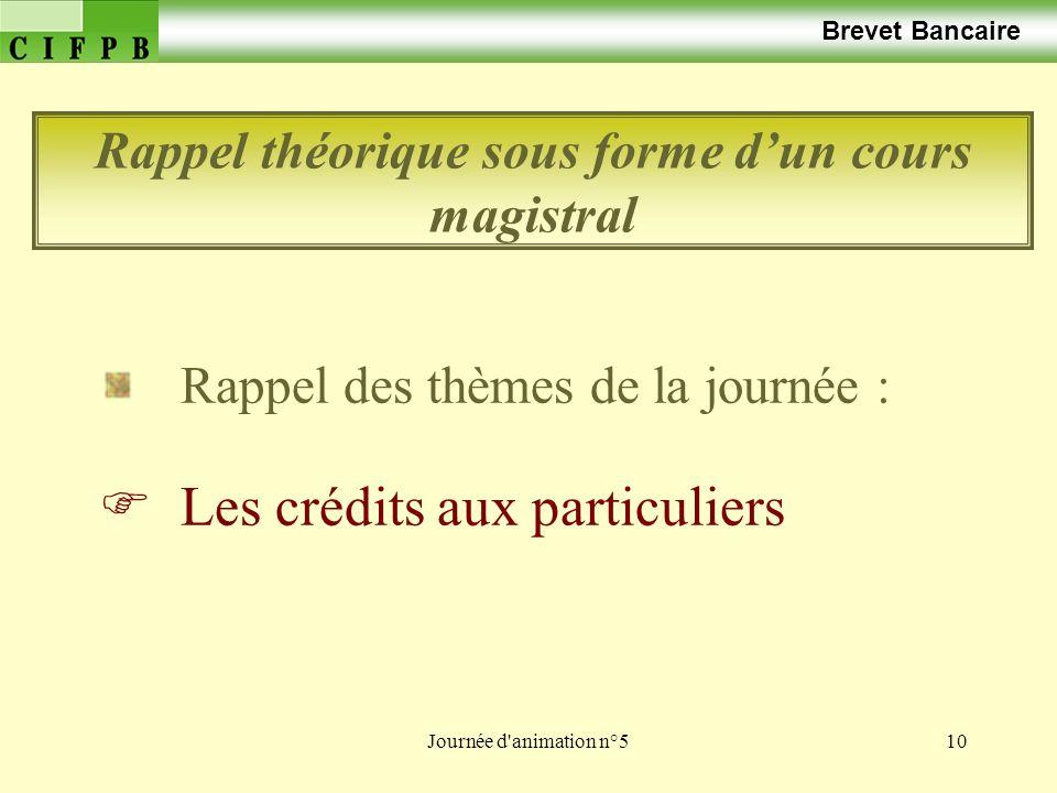 Journée d animation n°510 Brevet Bancaire Rappel des thèmes de la journée : Les crédits aux particuliers Rappel théorique sous forme dun cours magistral
