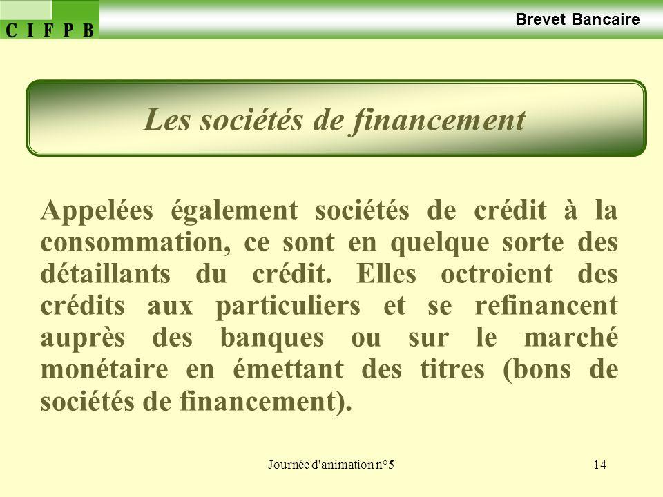Journée d animation n°514 Brevet Bancaire Appelées également sociétés de crédit à la consommation, ce sont en quelque sorte des détaillants du crédit.