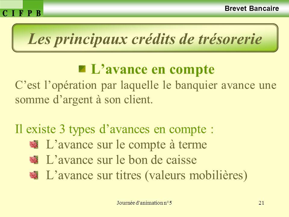 Journée d animation n°521 Brevet Bancaire Lavance en compte Cest lopération par laquelle le banquier avance une somme dargent à son client.