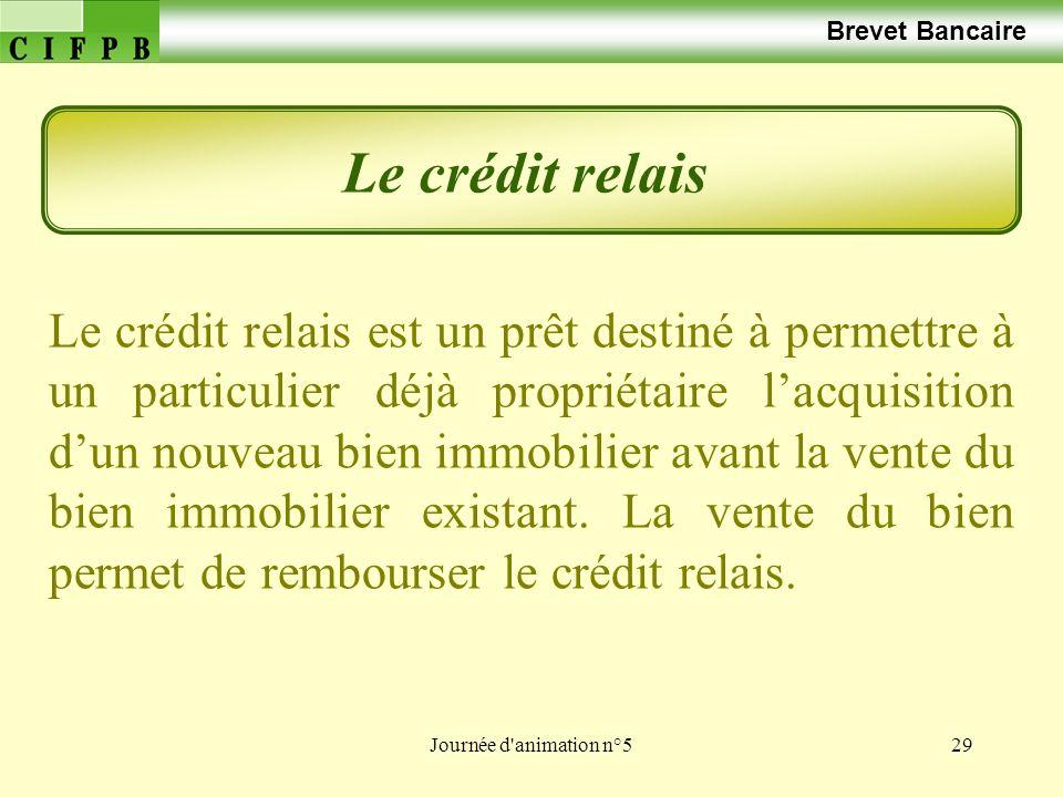 Journée d animation n°529 Brevet Bancaire Le crédit relais Le crédit relais est un prêt destiné à permettre à un particulier déjà propriétaire lacquisition dun nouveau bien immobilier avant la vente du bien immobilier existant.