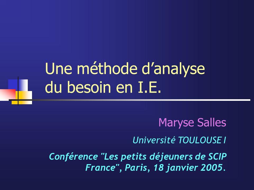 Une méthode danalyse du besoin en I.E. Maryse Salles Université TOULOUSE I Conférence