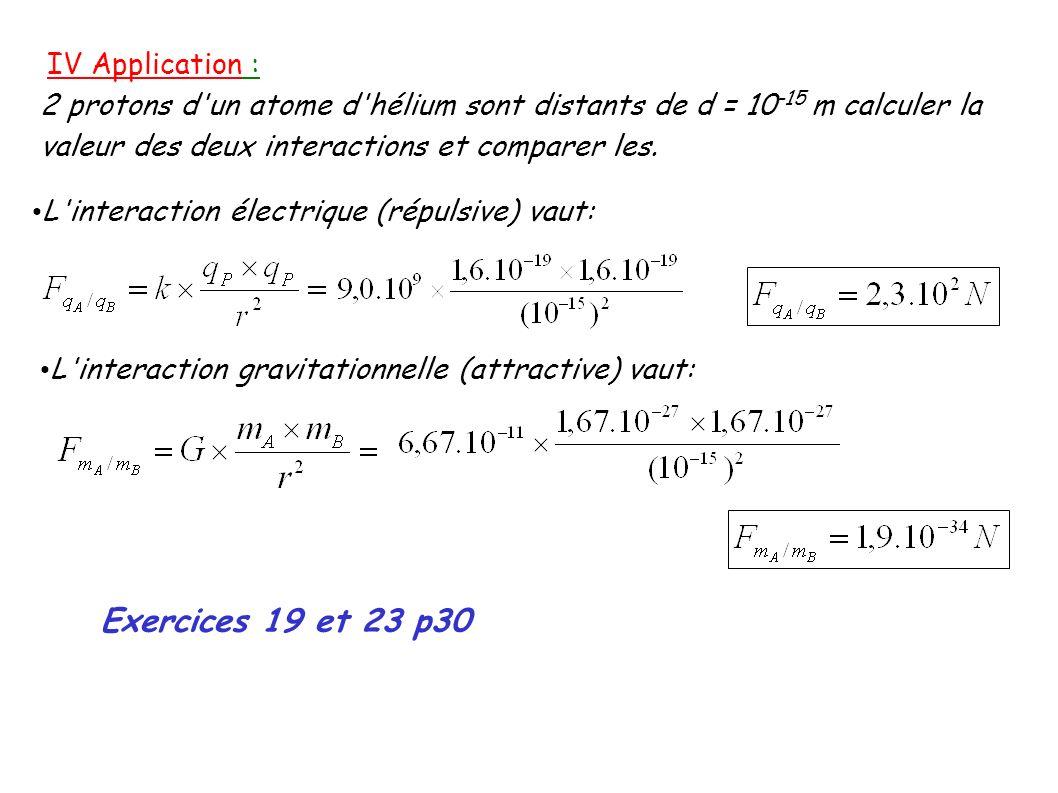 IV Application : 2 protons d un atome d hélium sont distants de d = 10 -15 m calculer la valeur des deux interactions et comparer les.