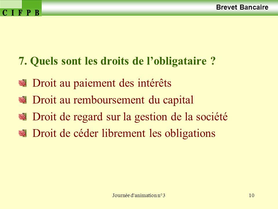 Journée d animation n°310 Brevet Bancaire 7.Quels sont les droits de lobligataire .