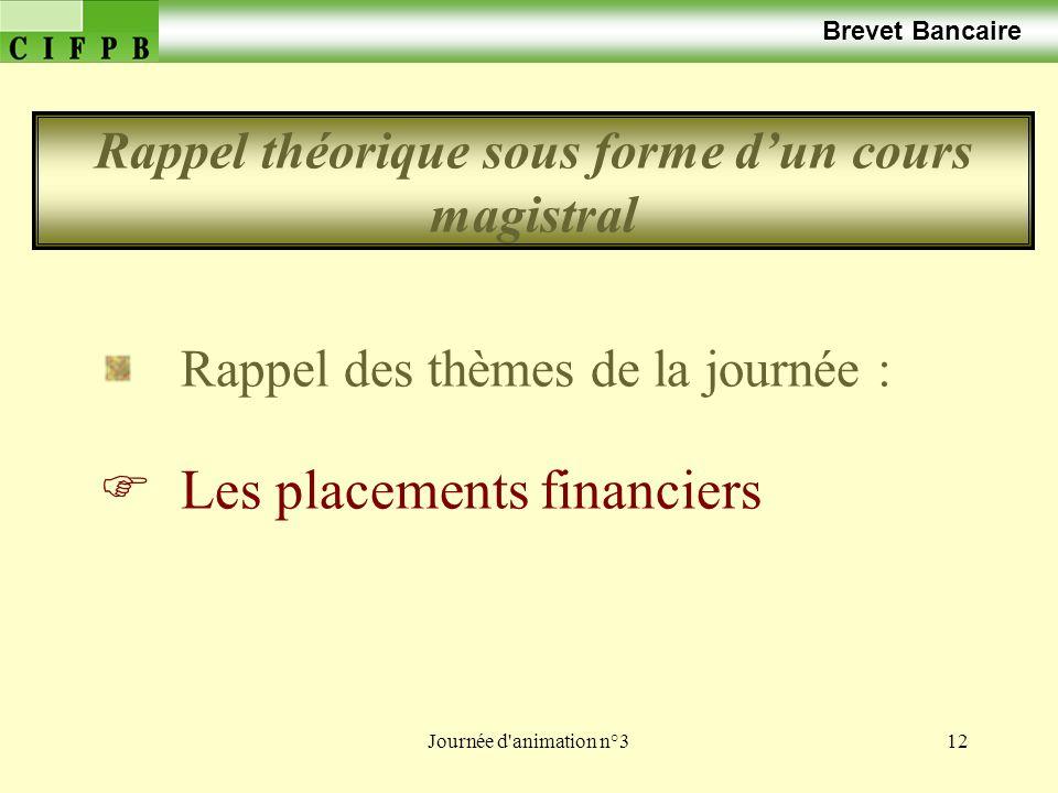 Journée d animation n°312 Brevet Bancaire Rappel des thèmes de la journée : Les placements financiers Rappel théorique sous forme dun cours magistral