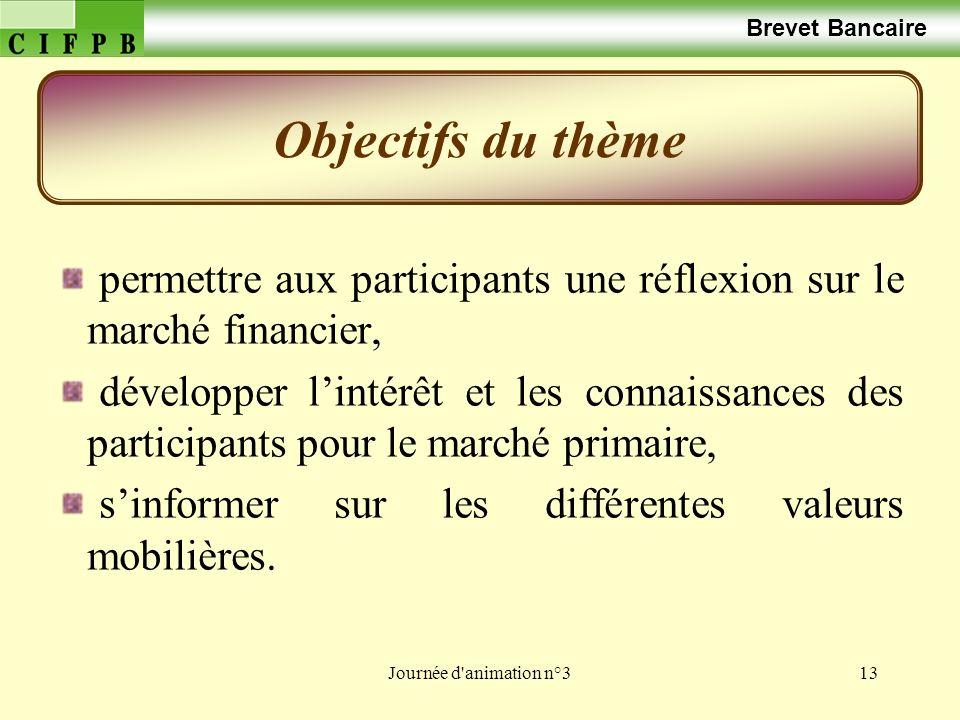 Journée d animation n°313 permettre aux participants une réflexion sur le marché financier, développer lintérêt et les connaissances des participants pour le marché primaire, sinformer sur les différentes valeurs mobilières.