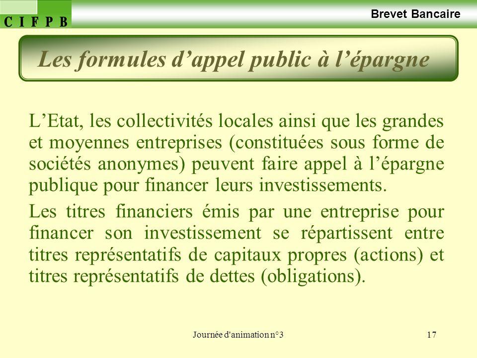 Journée d animation n°317 Brevet Bancaire LEtat, les collectivités locales ainsi que les grandes et moyennes entreprises (constituées sous forme de sociétés anonymes) peuvent faire appel à lépargne publique pour financer leurs investissements.
