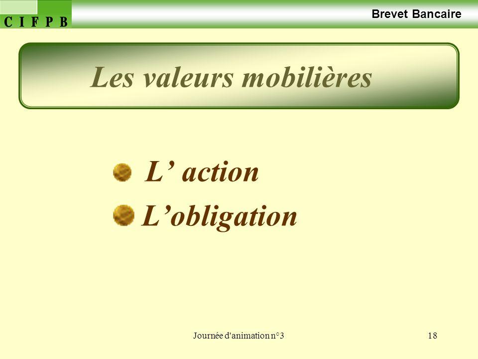 Journée d animation n°318 Brevet Bancaire L action Lobligation Les valeurs mobilières