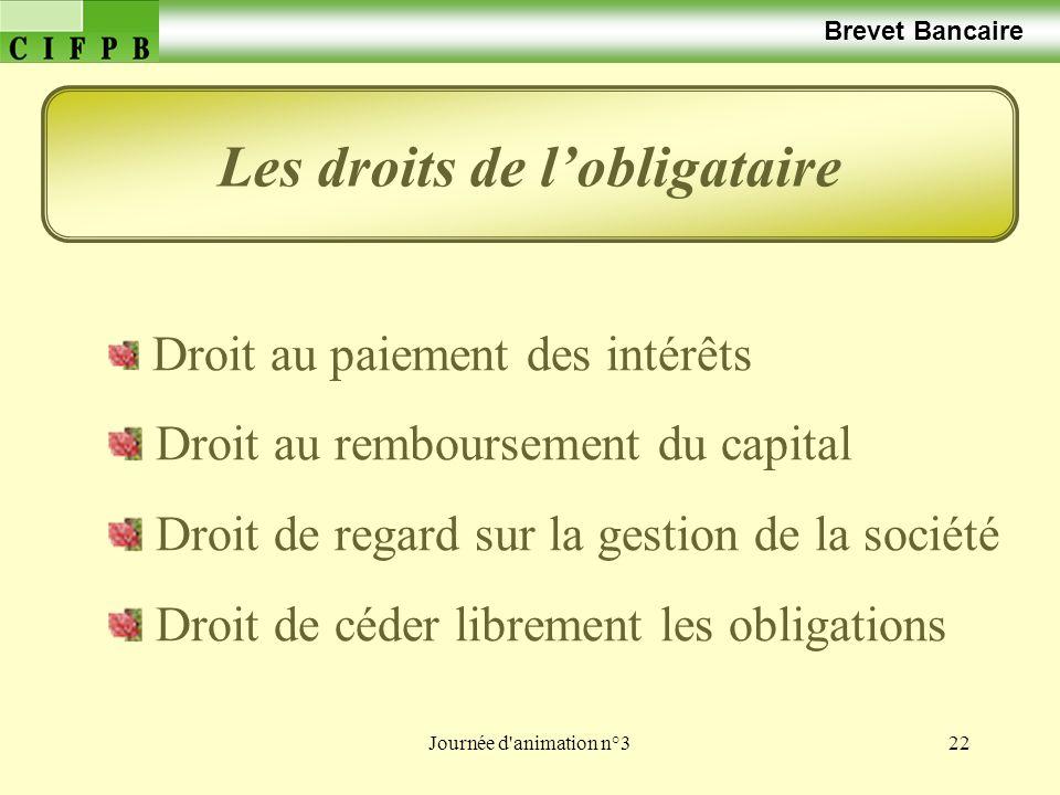 Journée d animation n°322 Brevet Bancaire Droit au paiement des intérêts Droit au remboursement du capital Droit de regard sur la gestion de la société Droit de céder librement les obligations Les droits de lobligataire