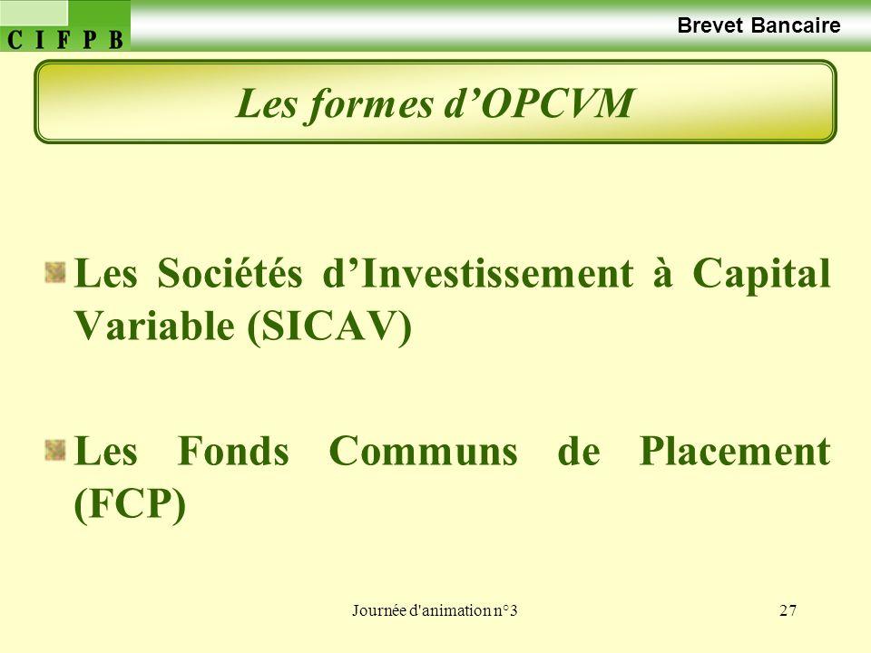 Journée d animation n°327 Brevet Bancaire Les formes dOPCVM Les Sociétés dInvestissement à Capital Variable (SICAV) Les Fonds Communs de Placement (FCP)