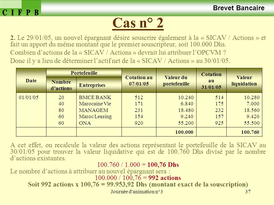 Journée d animation n°337 Cas n° 2 Brevet Bancaire 2.